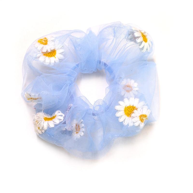 Women Hair Scrunchies Embroidered Daisy Flower Elastic Hair Bands Women Vintage Ponytail Holder Female Hair Accessories Headwear