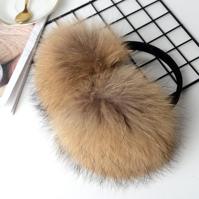 2019 New Ear Muffs Real Raccoon Fur Winter Accessories Ear Warmer Natural Raccoon Fur Earmuffs Women Fashion High Quality