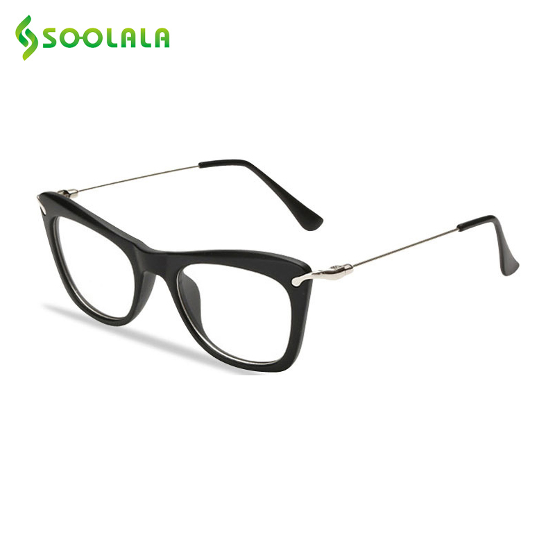 SOOLALA Women's Fashion Designer Cat Eye Eyeglasses Frames With Metal Arms Reading Glasses Women Anti-fatigue Eyewear Oculos
