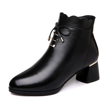 Genuine Leather Women Ankle Boots Square Heel Solid Colors Women Shoes Short Plush Warm Women Winter Autumn Boots ZiP Shoes 3-83 2017autumn winter fashion ankle boots for women medium heel 100% genuine leather women s ankle boot short martin shoes new brand page 2