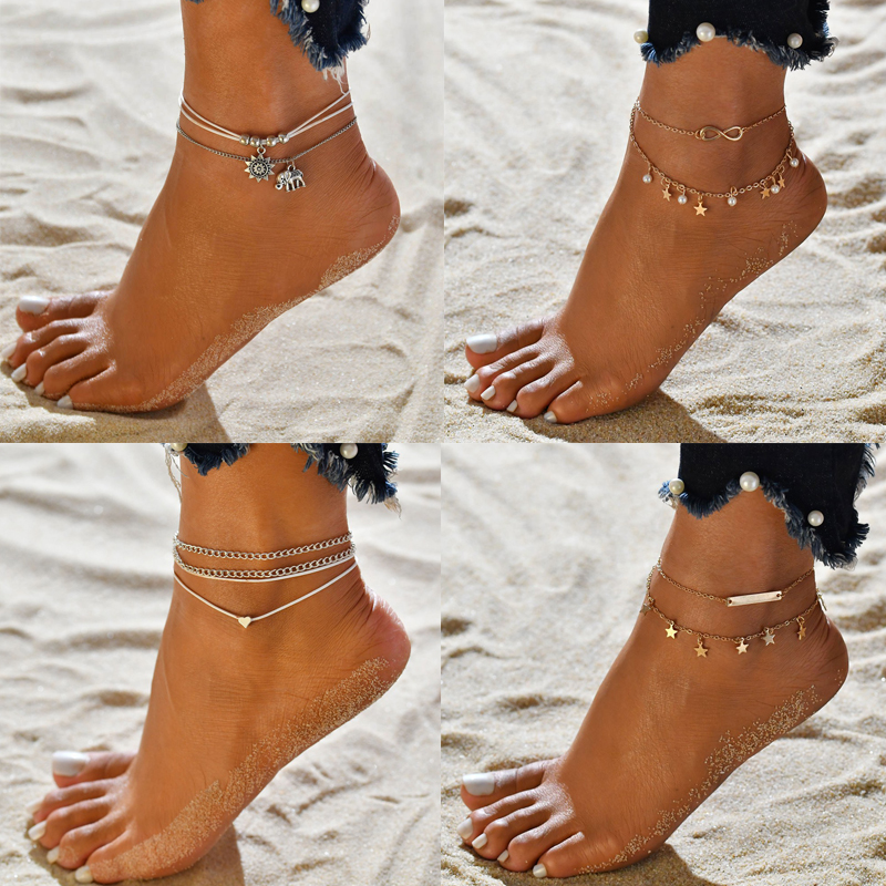 Vintage Multiple Layers Ankle bracelet Anklets for Women Boho Silver Color jewellery Leg Beach accessories Foot Sandals 2020