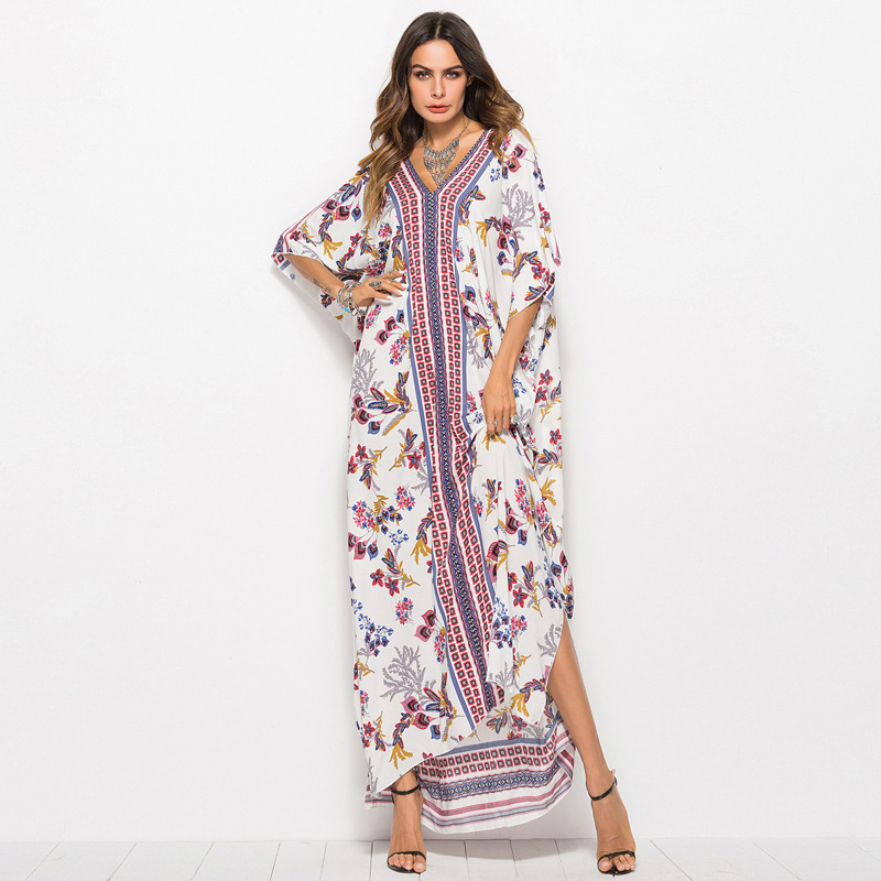New Printed Bohemian Women Maxi Dress Batwing Sleeve Holiday Beach Wear Fashion Muslim Abaya Dubai Arabic Moroccan Robe VKDR1767
