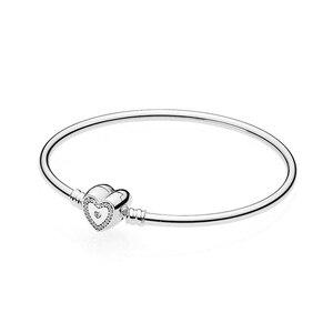 Image 1 - NEUE 2018 Neue 100% 925 Sterling Silber Armband Momente Silber Armreif Wunsch Herz Charme Frauen der Mode DIY Geschenk Schmuck