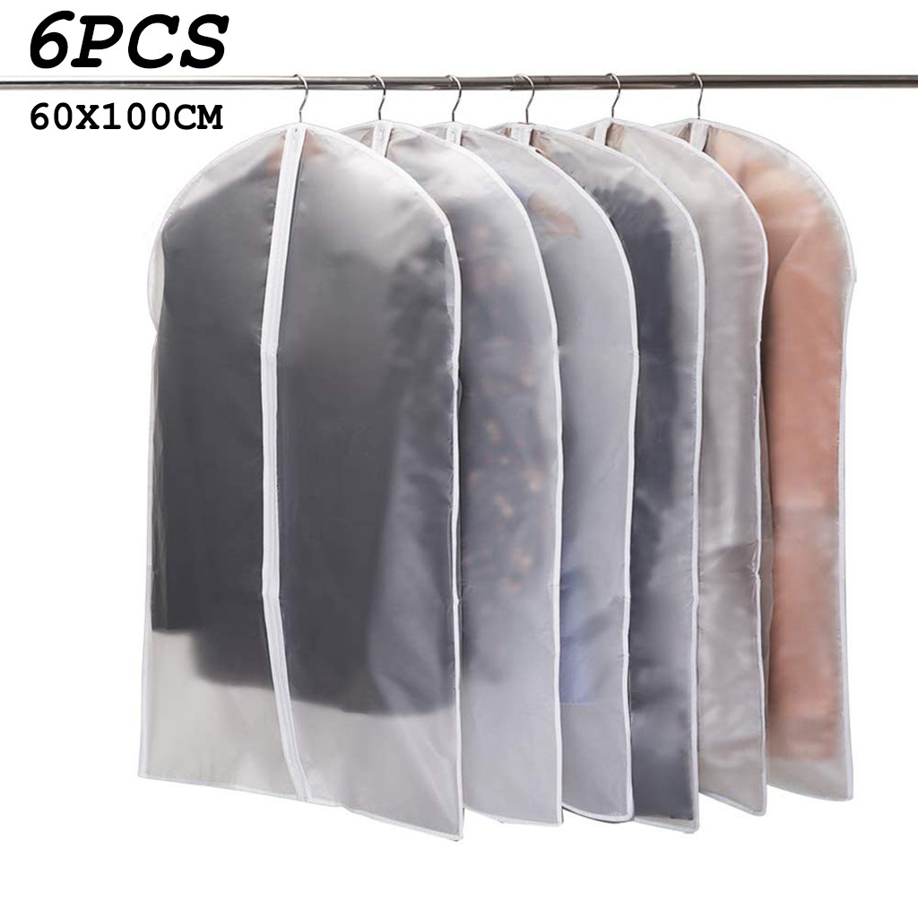 6pcs Clothing Covers Garment Suit Dress Jacket Clothes Coat Dustproof Cover Protector Travel Bag Dust Cover