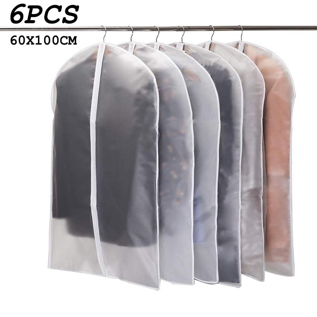 6pcs Clothing Covers Garment Suit Dress Jacket Clothes Coat Dustproof Cover Protector Travel Bag Dust Cover