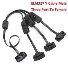 สายเต็มรูปแบบ16 Pin Splitter 1ถึง3สวิทช์Obd Obd2สายYชายสามพอร์ตหญิงWifi ELM 327 V1.5