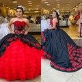 Красное, черное бальное платье, платья для Quinceanera, милое платье из органзы с аппликацией на шнуровке 16, пышные вечерние платья