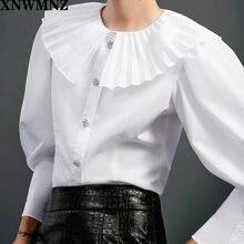 Xnwmnz za Женская рубашка с гофрированным воротником украшенная