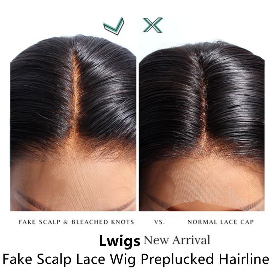 fake scalp preplucked hairline lace wig