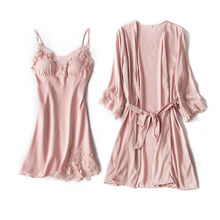 Robe and Gowns Set Embroidery Sexy Pajamas Sets Satin Nightwear Women Nighties Pyjama Femme Sleepwear Sets Silk Dress Pink Lace(China)