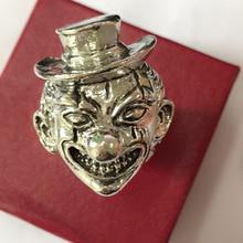 Männlichen Vintage Persönlichkeit Übertreibung Ringe Dark Gold Farbe Joker Gesicht Ring Für Männer Gothic Punk Partei Schmuck