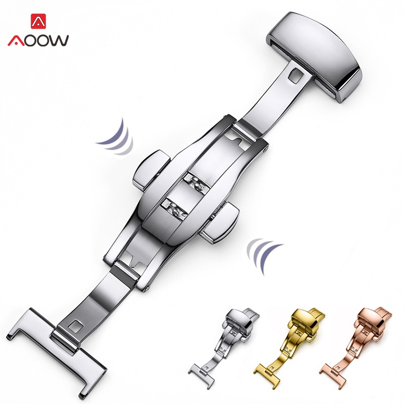 AOOW Gold Buckle Watch Push Button Fold Silver Clasp Watchband 12mm 14mm 16mm 18mm 20mm 22mm 316L Automatic Double Press