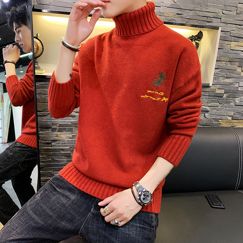 New Sweater Men's Korean Version of The Trend of Thickening Bottoming Knitted Sweater Students Embroidered Turtleneck Sweaters