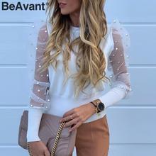 BeAvant بلوزة أنيقة لؤلؤة شبكة قميص المرأة نفخة الأكمام الإناث محبوك قميص علوي ملابس غير رسمية الخريف ملابس السيدات بلايز