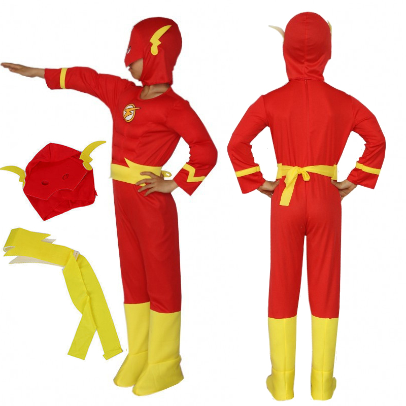 Bazzery le Flash enfants Cosplay Muscle poitrine tenue fantaisie enfants super-héros Costume bande dessinée déguisement pour enfant enfants vêtements