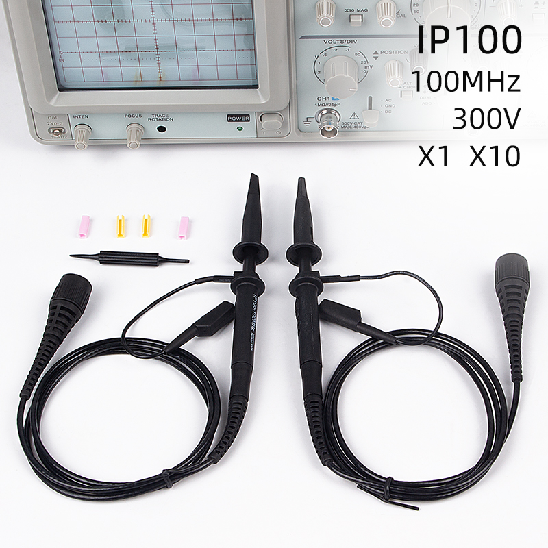 2pcs IP-100 Portable Professional Oscilloscope Probe Kit 100MHZ X10 X1 Accessories Osciloscopio Oscilloscope Sonde