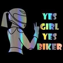 שלוש Ratels TZ 1428 15x19.7cm כן ילדה כן biker מדבקות לרכב מצחיק אוטומטי מדבקת מדבקות