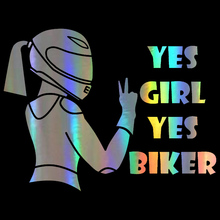 Three Ratels TZ 1428 15x19.7cm Yes girl yes biker car stickers funny auto sticker decals