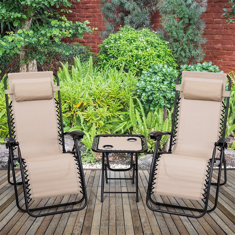 3 pcs Folding Portable Zero Gravity Reclining Lounge Chairs Table Adjustable Back Garden Set with Folding Feature|  - title=