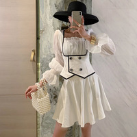 DEAT Solid Color Square Collar Long Sleeve Double breasted Waist Shirt Skirt Woman Suit Casual Fashion 2019 Summer New TV433