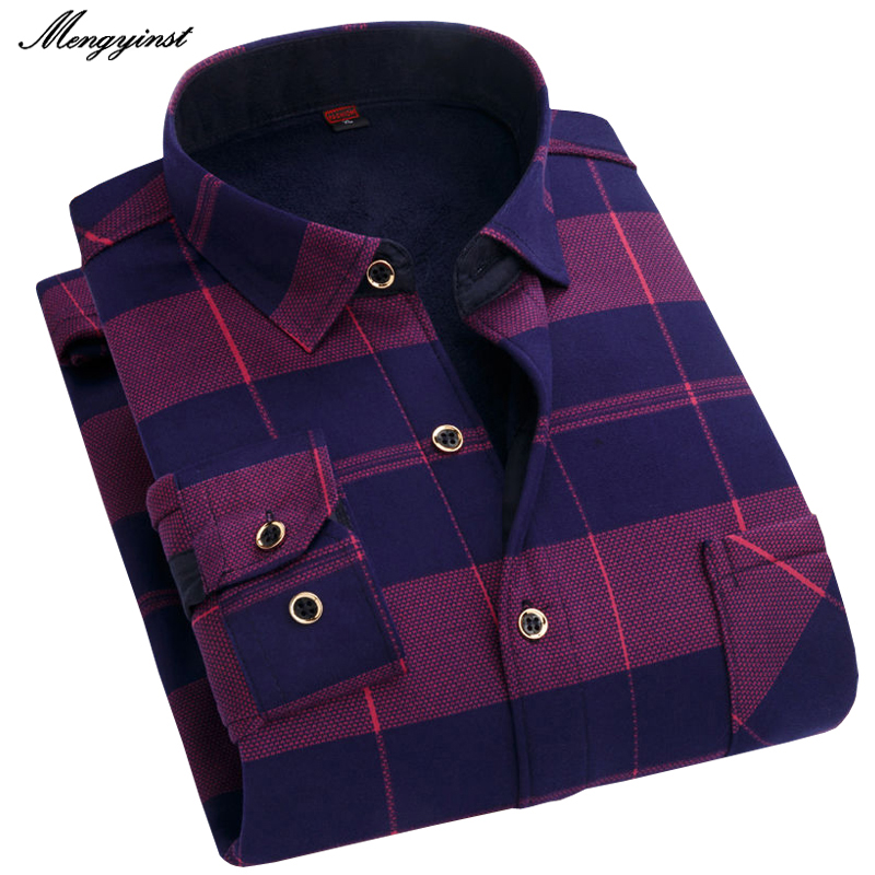Mengyinst 2020 Brand Winter Mens Fashion Warm Long Sleeve Plaid Shirt Male Thick Fleece Lined Soft Casual Flannel Dress Shirts