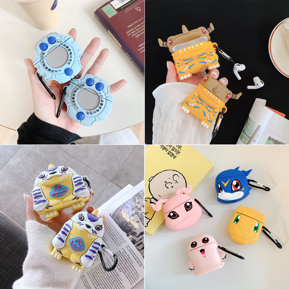 <font><b>3D</b></font> 20th anniversary Digimon For Apple Airpods <font><b>1</b></font> 2 case Cartoon Wireless Earphone Cover For Airpods Pro Silicone Protection Box image