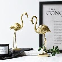 Metal de pé dourado flamingo decoração aves animais estátua artcrafts resina decoração para casa ornamento branco guindaste estatueta em miniatura