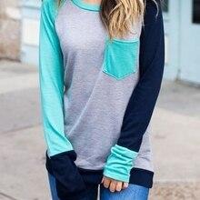 Женская бейсбольная футболка с длинным рукавом и карманом, с цветным блоком, женская футболка Harajuku, весна-осень, плюс размер, топ Ulzzang,, модная футболка, Новинка