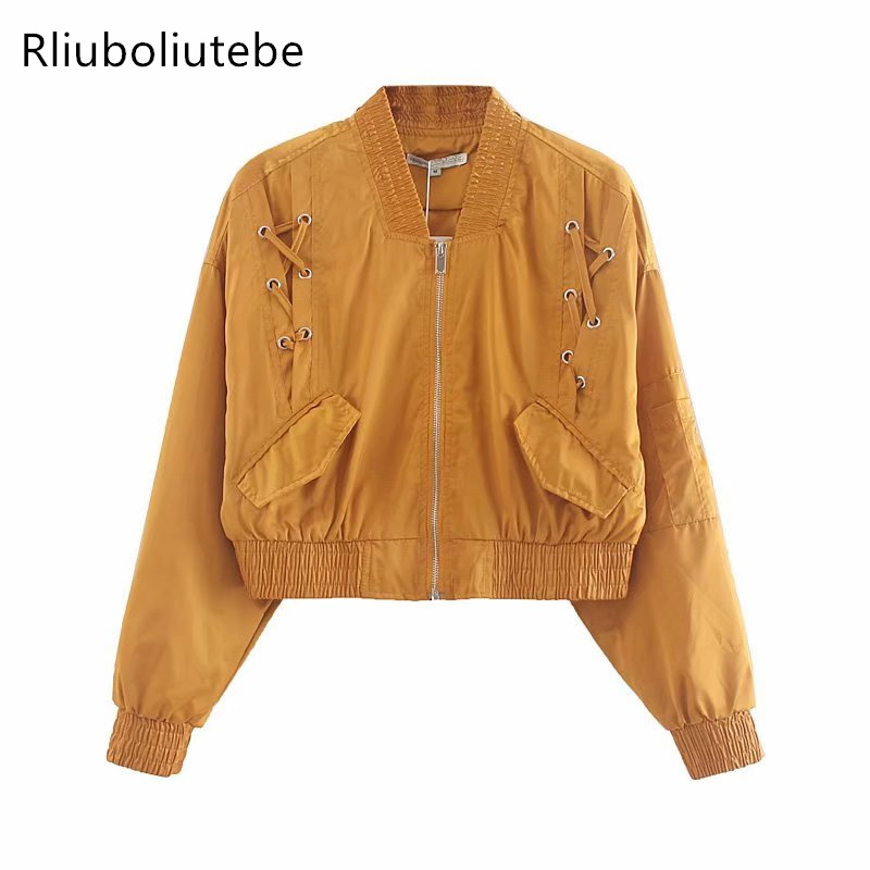 short   Basic     Jackets   Bomber   Jacket   Women Long Sleeves Pockets Autumn Coats Outerwear Fashion mujer Stand Collar Streetwear