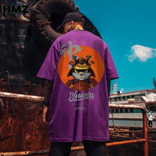 HMZ 2021 T Shirt Streetwear Men Oversize Hip Hop T-Shirt Cat Harajuku Tshirt Summer Short Sleeve Cotton Loose Tops Chic Tee Men