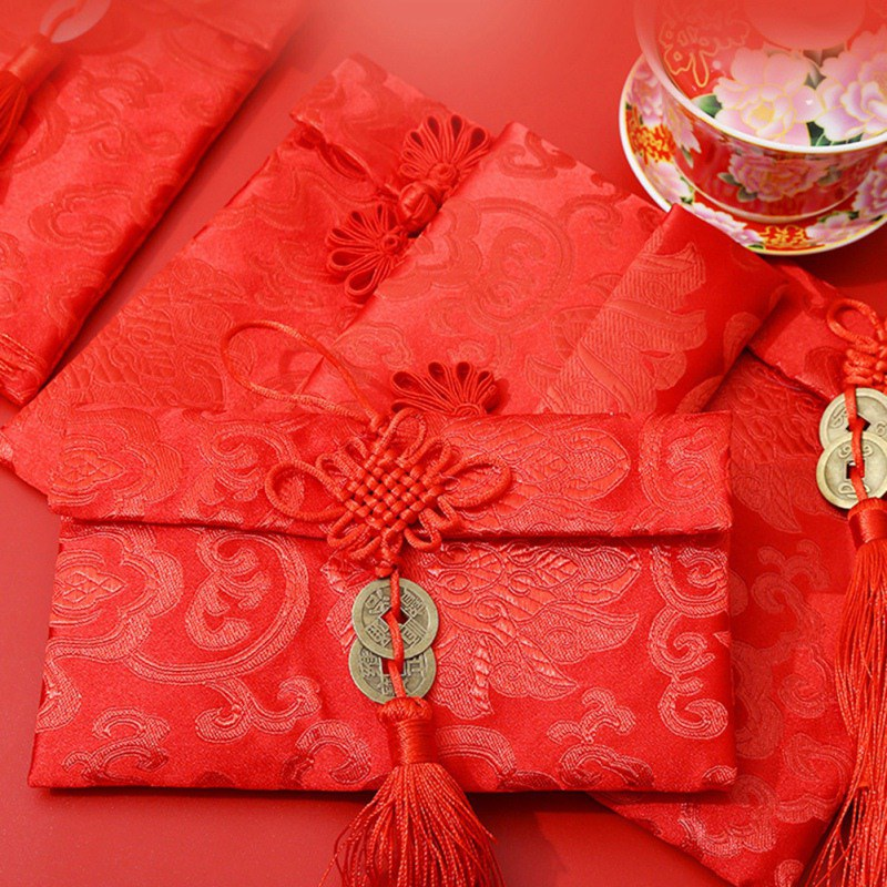 Chinese Style Red Envelope Cloth Lucky Money Bag Happy New Year Art Betrothal Gift Bag High-grade Brocade Wedding Tassel Bags