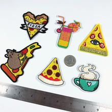 Pizza Muis Fastfood Patches Ijzer Op Stickers Cartoon Thee Cup Applicaties Drinken Warmte Badges Jas Kleding Decor Parches voor kids(China)