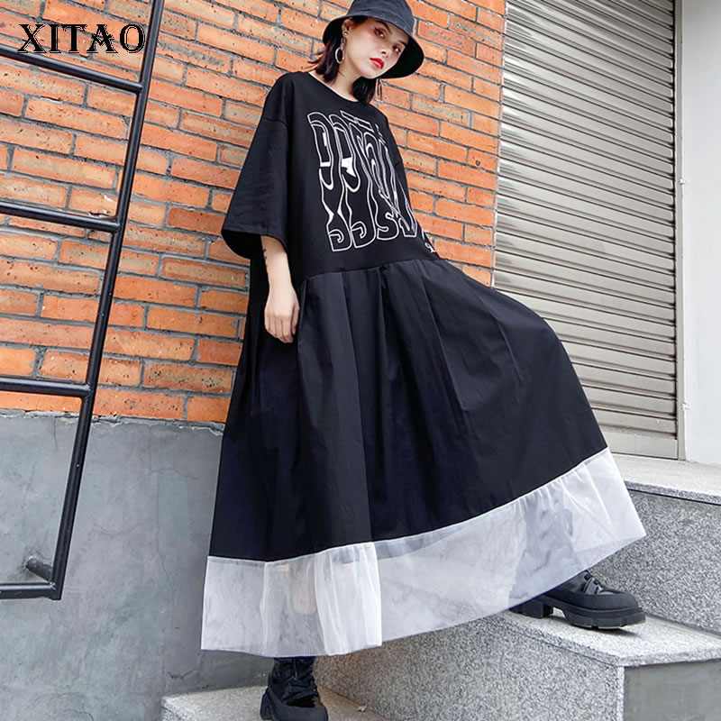 XITAO Pleated Print Letter Dress Mesh Women Pullover Pleated Plus Size Goddess Fan Casual Minority Style Pocket Dress DMY3463
