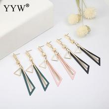 Korean Creative Long Statement Geometric Triangle Tassel Dangle Drop Earrings For Women Earings Fashion Jewelry Oorbellen Brinco