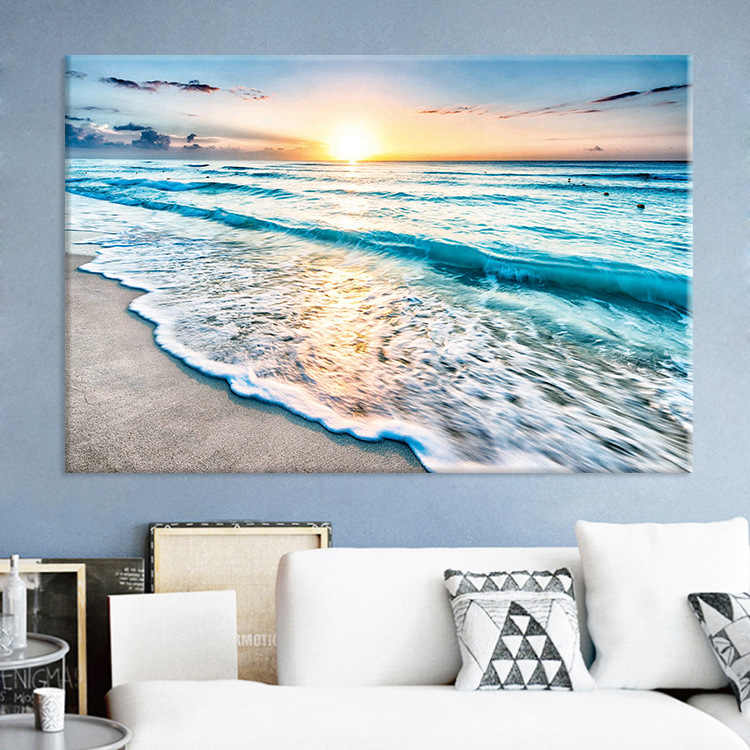 Modern Simple Nordic Seaside Sunrise Beach Sea Scenic Canvas Living Room Decorative Painting Frameless Wall Art Kitchen Paris
