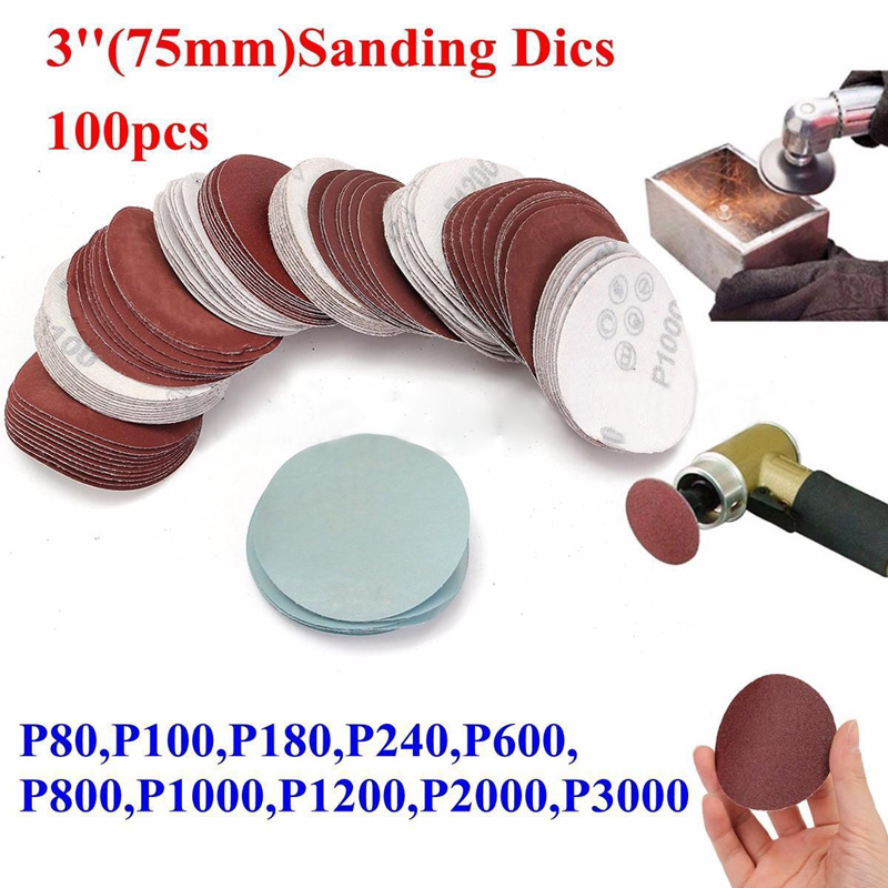 100Pcs 3inch 75mm Sandpaper Sander Round Disc Mix Sanding Polishing P80-P3000 Pad High Quality Durable And Practical