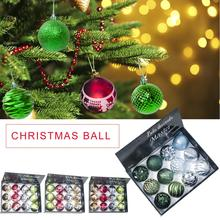 12PCS 8CM Christmas Ball Print Boxed Tree Ornaments Supplies Decorations For Home bombki choinkowe