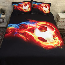 3D Fire Football Bedding Set Sports Duvet Cover Pillowcases Red Black Color Twin full queen king size Bedclothes 3pcs(China)