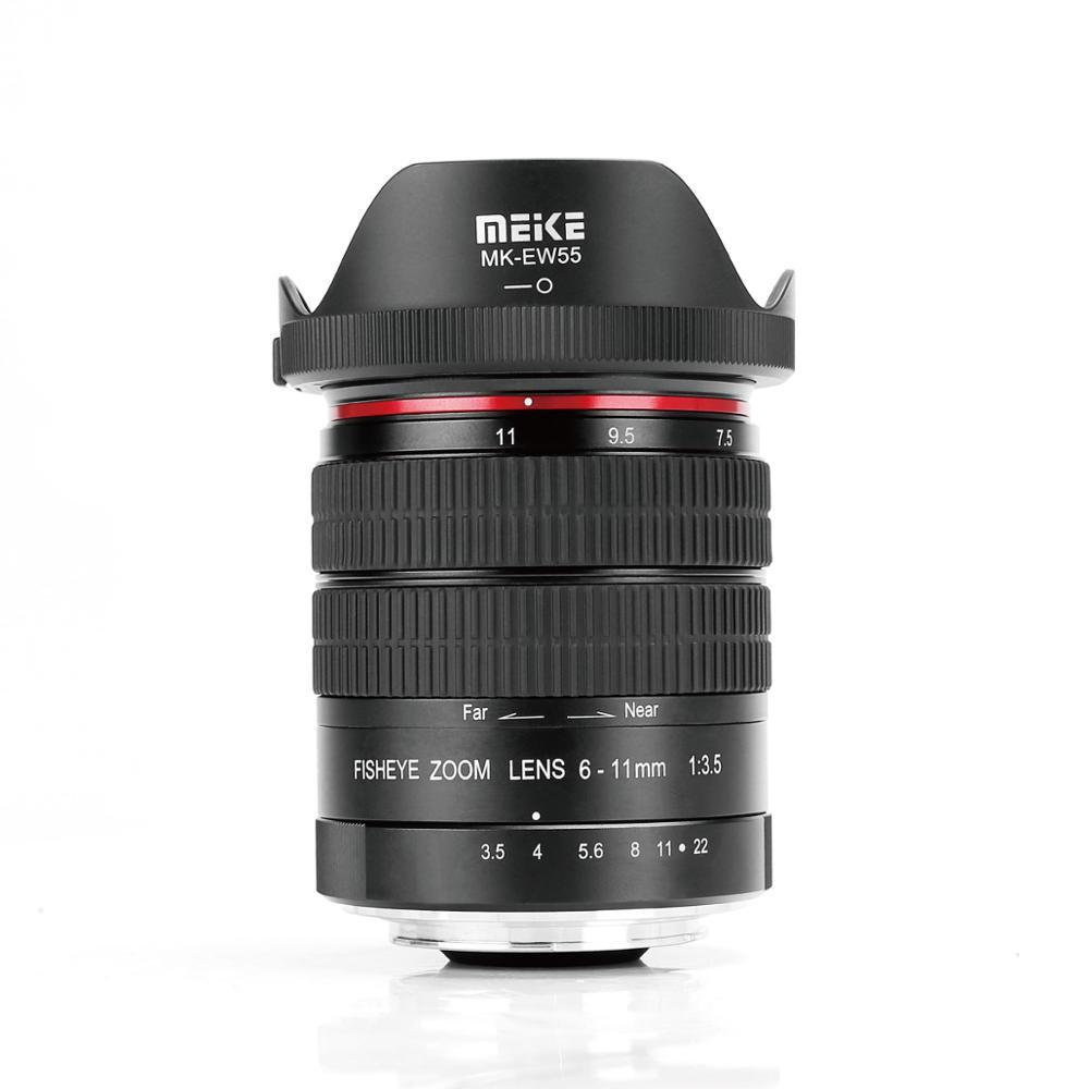 Meike 6-11mm ultraancho F3.5 Zoom lente de ojo de pez para Canon EOS montura EF DSLR cámaras con APS-C/completa + regalo gratis