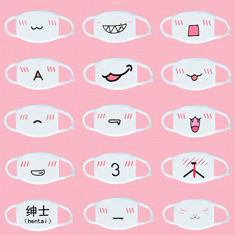 Cute Emoticon Mouth Mask Fashion Winter Warm Cotton Funny Anime Emotiction Kawaii Half Face Mask Respirator Supplies KPOP Masks