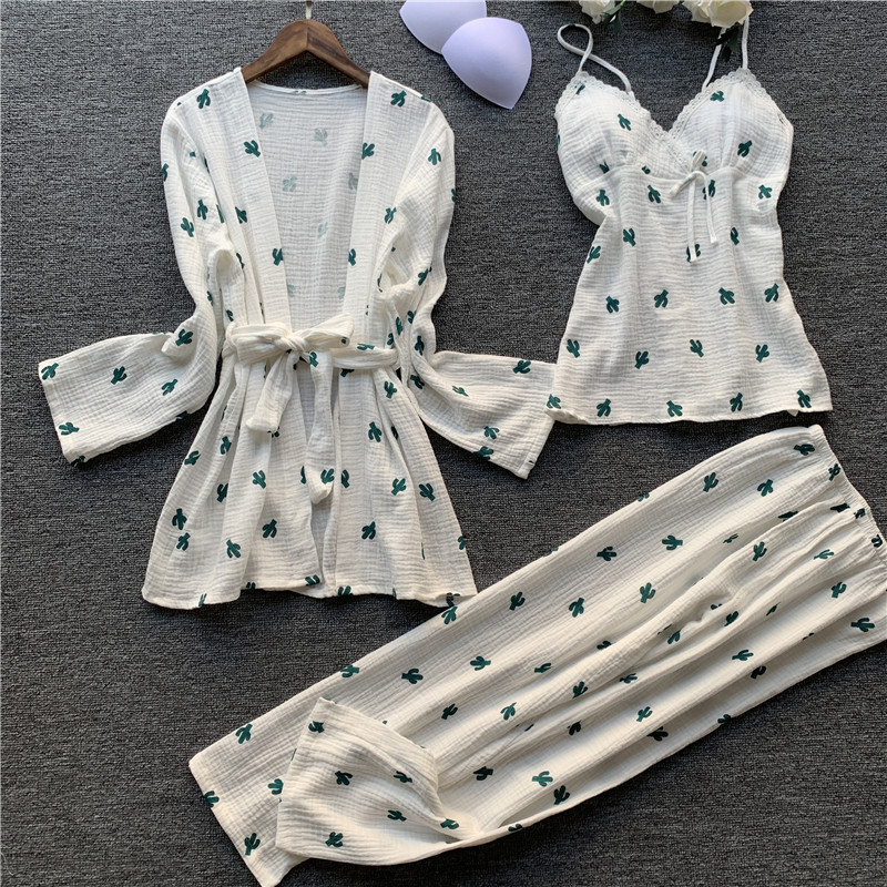 2019 Autumn New 3 PCS Women Cotton Pajamas Sets With Pants Lace Pyjama 100% Cotton Flower Print Nightwear Sleepwear Pyjama