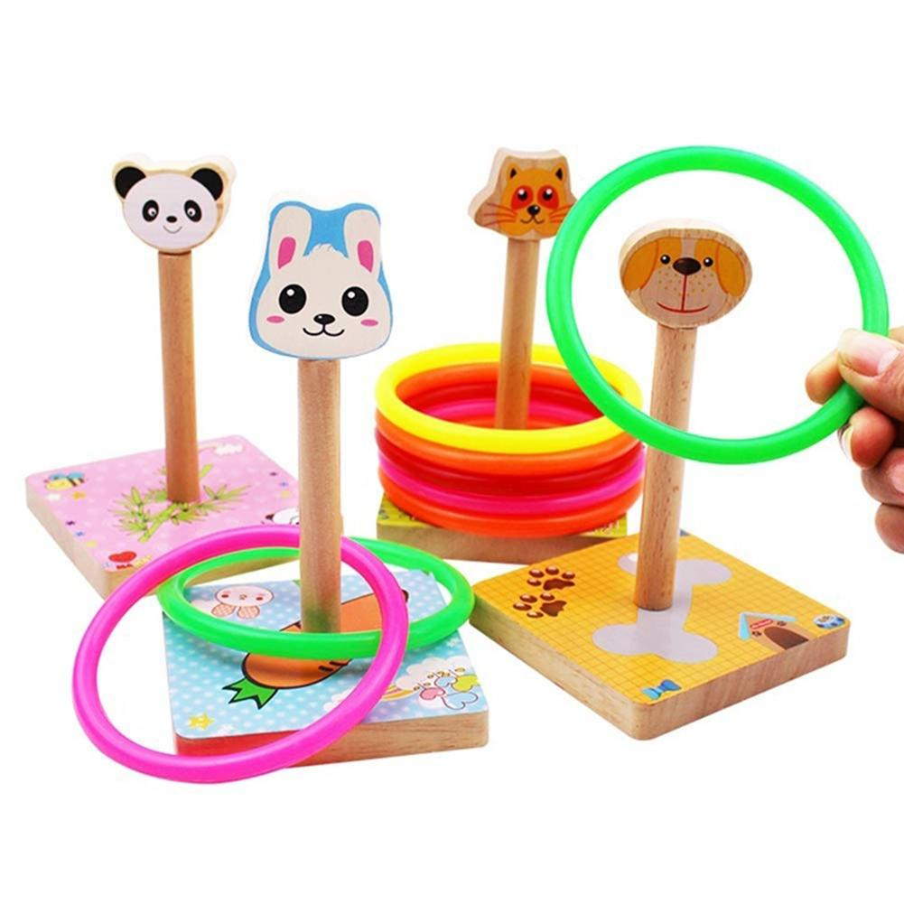 Children Outdoor Fun Wooden Colorful Ferrule Quoits Toy Throwing Game Mini Jumping Ring Hoop Interactive Gift