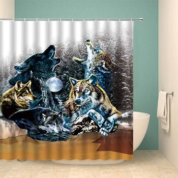 Wolf Shower Curtain Set Wild Animal Forest Oil Painting Art Abstract Home Bathroom Decoration 70×70 Inch with Hook Hole