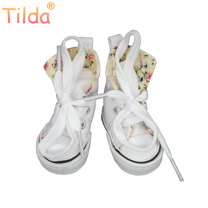 Tilda Canvas Sneaker For Paola Reina Doll,Fashion Mini Toy Gym Shoes for Tilda,1/4 Bjd Doll Sneakers Shoes for Dolls Accessories image