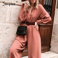 Simplee Elegant v neck long sleeve women jumpsuit Sashes pocket loose casual sum