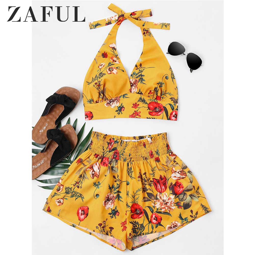 ZAFUL Women Set Summer Halter Sleeveless Floral Crop Top Elastic Waist Shorts Two Piece Set Casual Beach Suit Women's Clothing