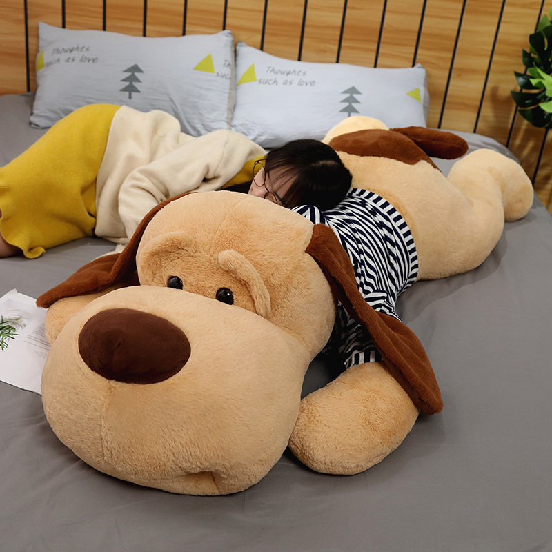 1PC 70/90/130 CM géant en peluche grand sommeil chien en peluche chiot chien doux Animal jouet doux oreiller bébé filles cadeau danniversaire