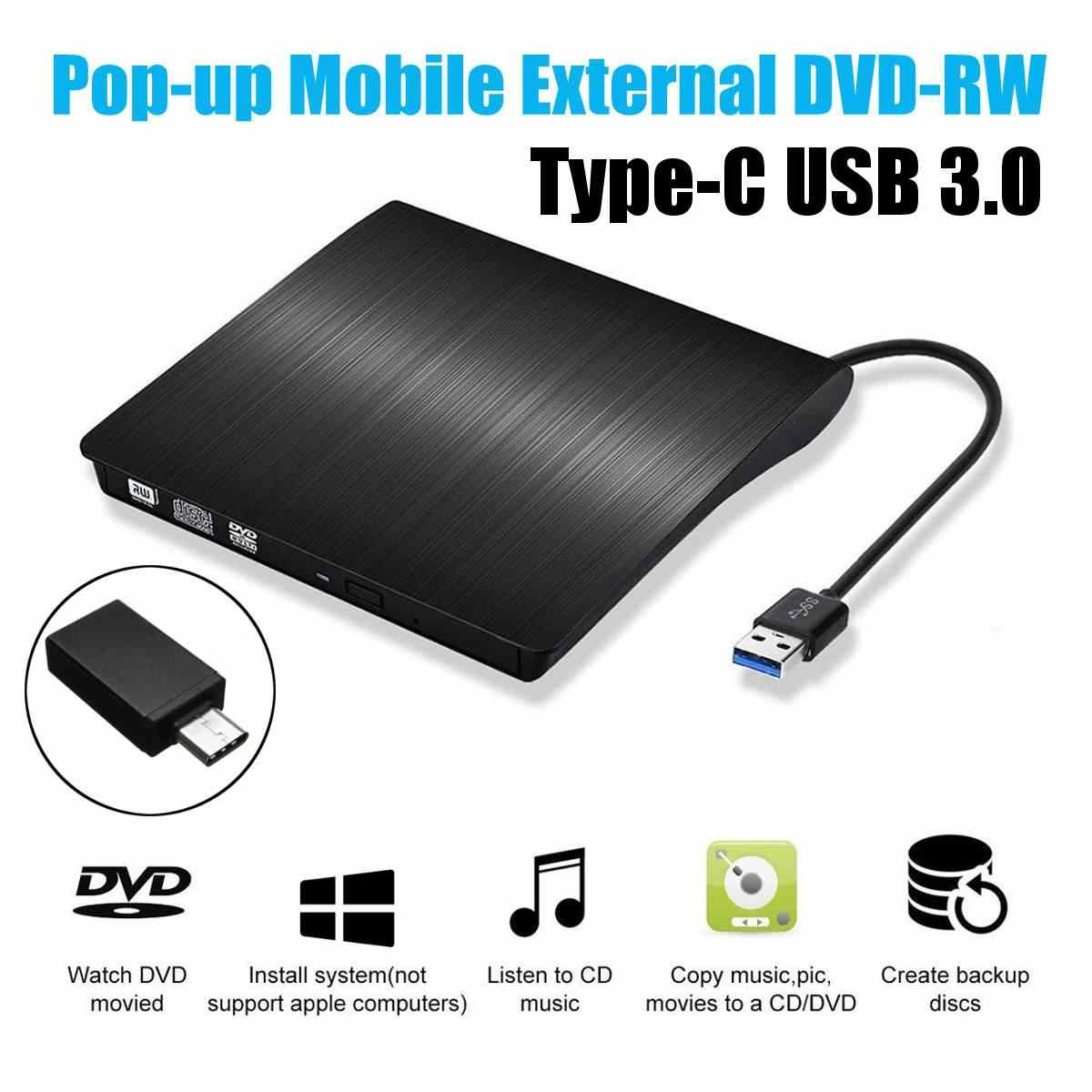 Grabador externo de DVD/CD/VCD USB 3,0 tipo C reproductor de unidad RW dvcd Unidad óptica para Mac/PC/Apple Laptop/OS/Windows