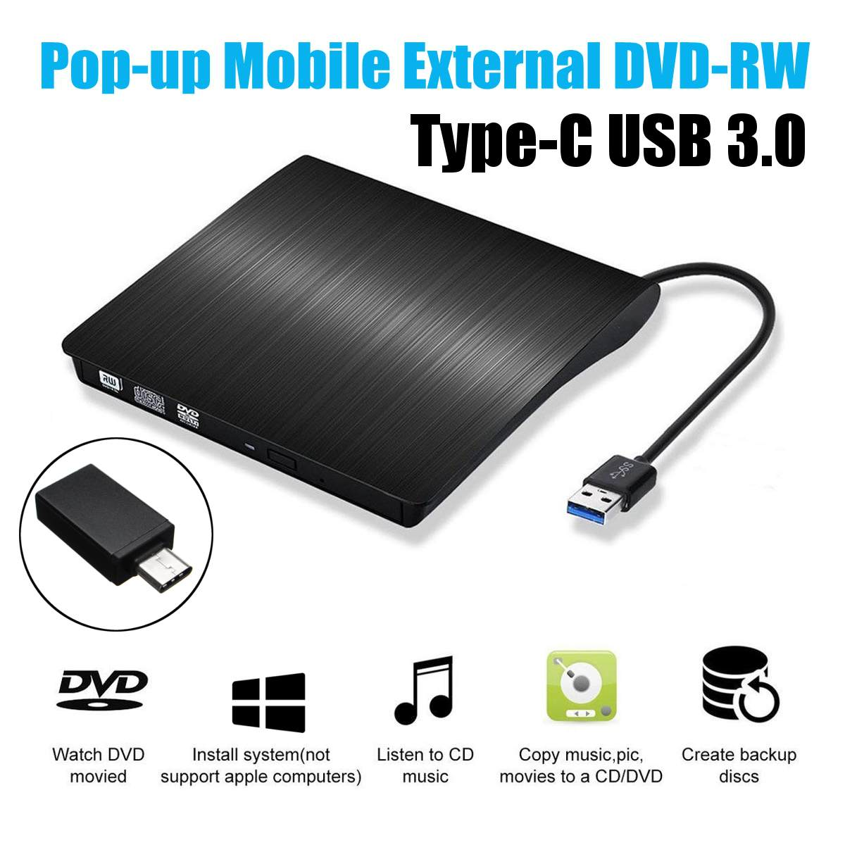 Type C USB 3.0 External DVD/CD/ VCD Burner RW SVCD Drive Player Optical Drive for Mac/PC/Apple Laptop/OS/Windows