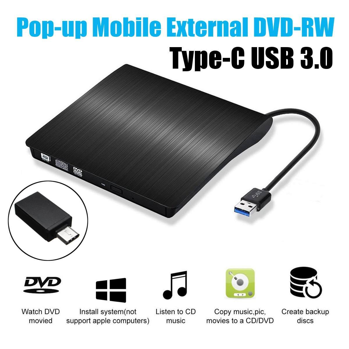 Type C USB 3.0 externe DVD/CD/VCD graveur RW SVCD lecteur lecteur optique pour Mac/PC/Apple ordinateur portable/OS/Windows
